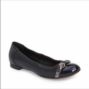 AGL Black Leather Cap Toe Ballet Flats Size 8.5